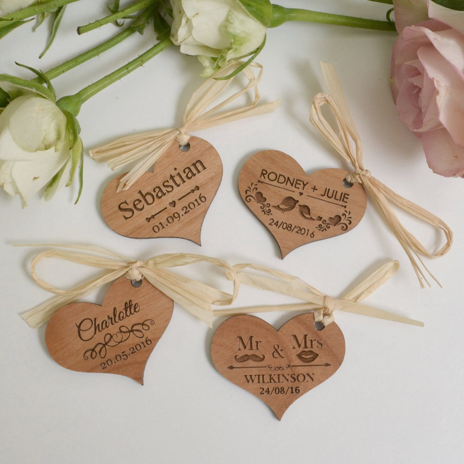 50 x engraved wooden heart wedding gift tags