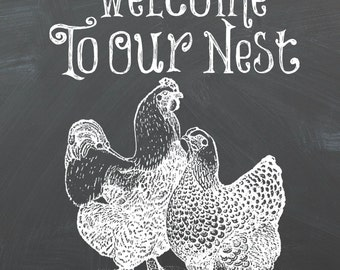 Welcome To Our Nest Chalkboard Printable