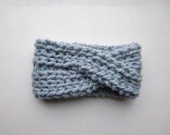 Knitted Headband Chunky Headband Ear Warmer Cabled Headband Head wrap in Light Blue Hair Accessories Gift under 20 FREE Shipping to CANADA