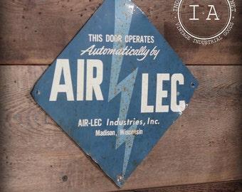 Vintage Industrial Steel Air-Lec Industries Advertising Sign