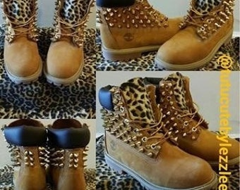 Leopard Spiked Timberlands - Youth Sizes 13 to 3