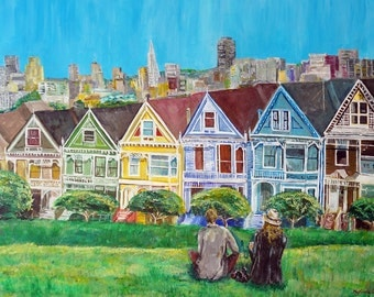 """Couple at Alamo Park, Painted Ladies San Francisco California Painting by marinelaArt - Acrylic Fine Art on 30"""" x 24"""" Large Canvas Paintings"""