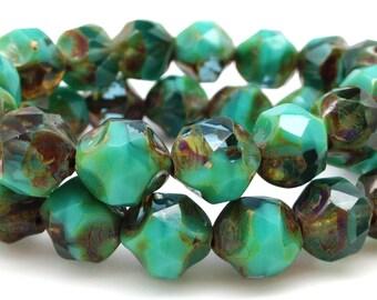 15 Sea Green Picasso Czech Glass Beads 9mm Central Cut Irregular