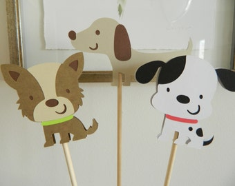 3 Boy Puppy Centerpiece Sticks Puppy Birthday Party Dog Party Decorations Puppy Baby Shower Decorations • Set of 3