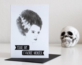 Bride of Frankenstein Blank A1 Greeting Card