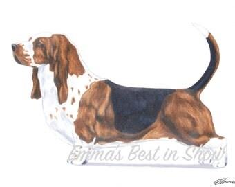 Basset Hound Dog - Archival Fine Art Print - AKC Best in Show Champion - Breed Standard - Hound Group - Original Art Print