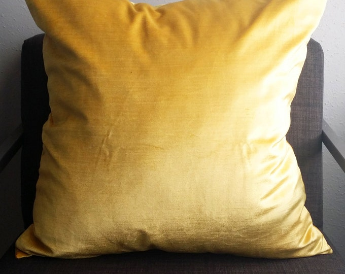 soft, yellow velvet pillow cover