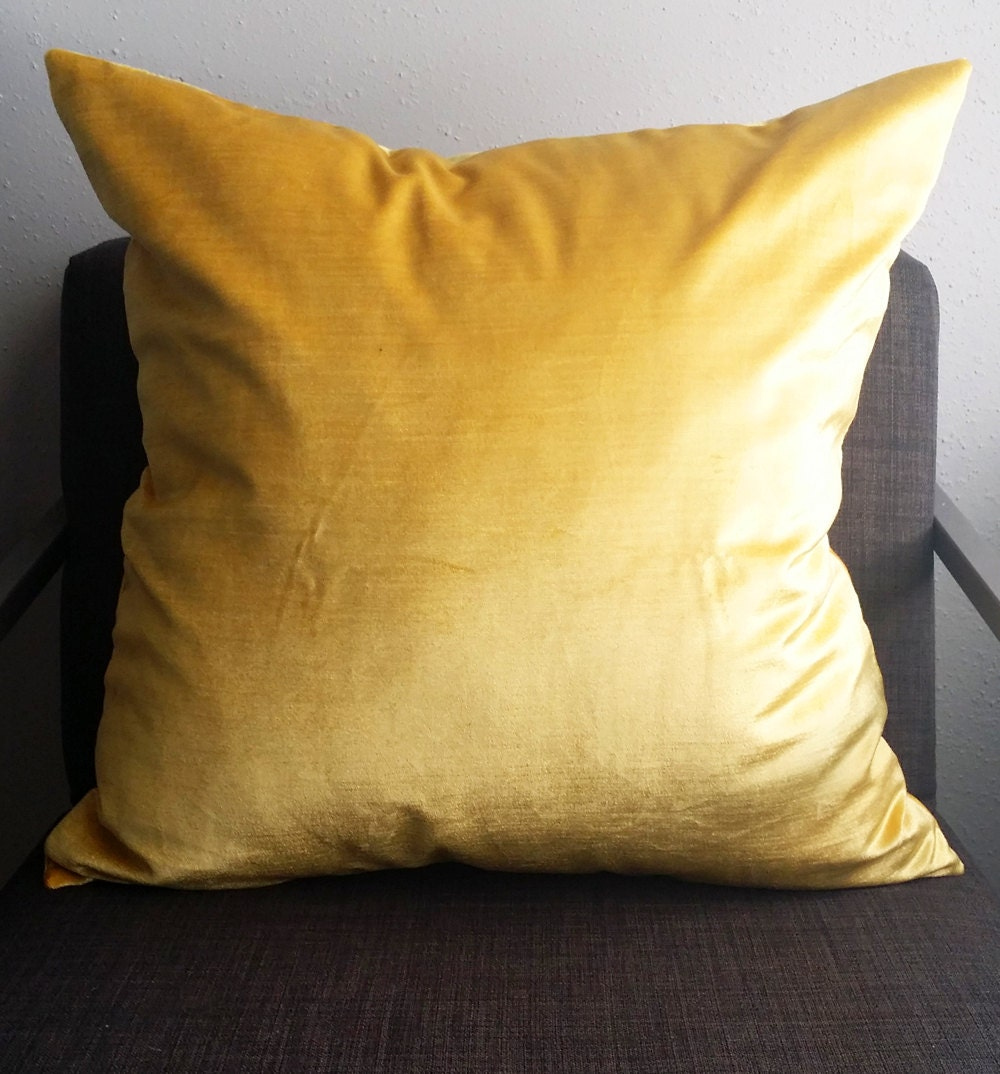 DISCONTINUED soft, yellow velvet pillow cover
