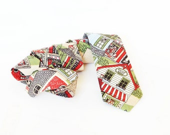 Christmas House Tie for Little Boy / Boy's Holiday Neckties Green Red  / photography prop - free gift