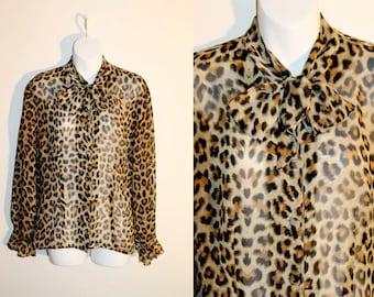 VINTAGE 80s Glam Punk Rock Heavy Metal Retro Leopard Print chiffon blouse shirt. Womens AUS 10