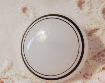 Clambroth Glass Button with Two Painted on Black Lines