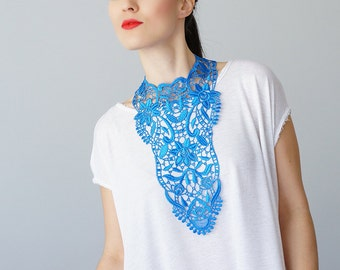 30% Inspiration Blue Necklace Venise Lace Necklace Lace Jewelry Bib Necklace Statement Necklace Body Jewelry Gift/ ERCOLA