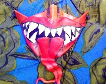 Red Leather Demon Mouth Mask
