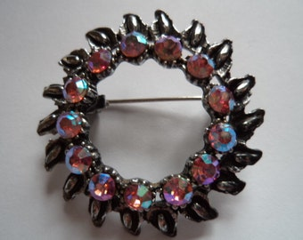Fabulous Unsigned Vintage Dark Silvertone Circle with AB Stones Brooch/Pin