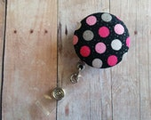 CLEARANCE- Retractable Badge Reel ID Holder, Black with White, Gray and Pink Polka Dot Glitter Print Cotton, Quick Ship, Polka Dots
