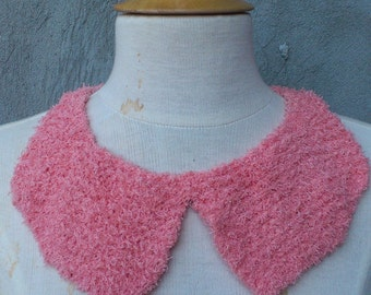 Pink Peter Pan collar, loose  collar, knit collar, knit necklace, knit statement necklace, pink necklace, knit statement necklace