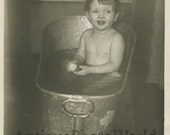 Cute baby with soap washing in tin tub antique photo
