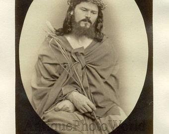 Oberammergau Passion Play actor as Jesus Christ religious antique photo