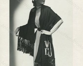 Beautiful woman model posing in scarf vintage photo