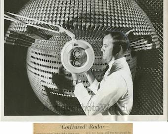 Scientist with ADAR radar fun vintage photo