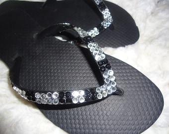 Crystal Flip Flops With Black And Silver Crystals On A Black Base