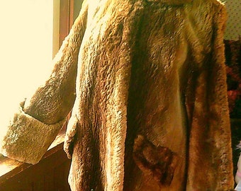 Vintage 50's Sheared Beaver Coat Jacket Fur Retro Fashion Edelbergs Adirondack Furriers