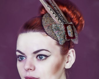 Harris Tweed Feather Bow Headpiece,1940s, 40s, Pheasant Feather Headpiece, Tweed, Wedding, Vintage, Race Hats, Derby, Royal Ascot Hats