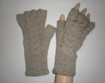 Handknitted oatmeal color with cables men fingerless gloves / wrist warmers