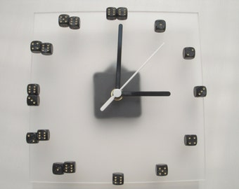 Black pearl dice on frosted acrylic square wall clock