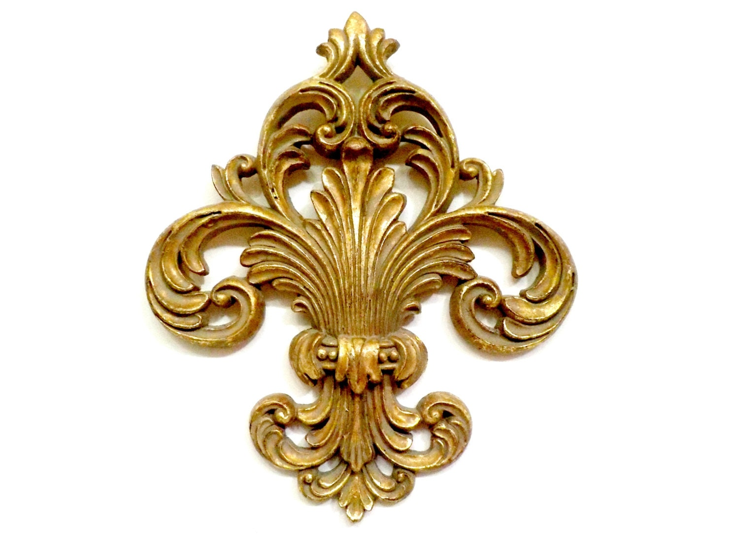 Gold wall decor hollywood regency wall decor fleur de lis for Hollywood regency wall decor