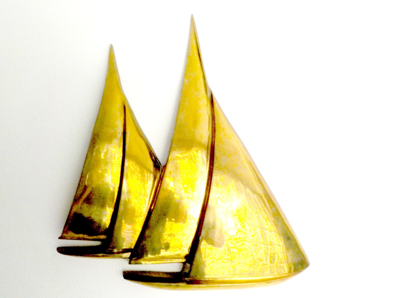 Large Brass Sailboat Wall Decor Sailing Nautical Decor Large