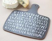 Cheese board - charcoal - hand lettered typographic cheese board