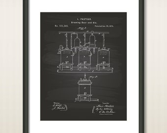 Brewing beer and ale 1873 Patent Art Illustration - Drawing - Printable INSTANT DOWNLOAD - Get 5 Colors Background