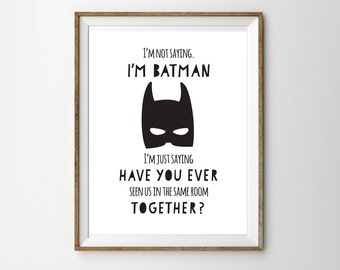 Batman Print for a Little Boy's Nursery/Bedroom - Batman - Instant Download Wall Art - Print at Home