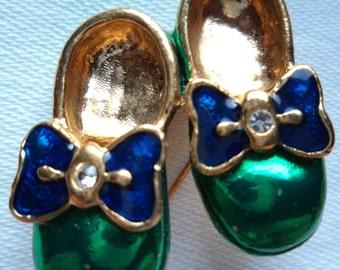 Vintage Unsigned Goldtone/Green Shoes Brooch