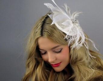 White Wedding Hat Head Piece Kentucky Derby Hat Bridal Coctail Hat Couture Fascinator  Bridal Hat