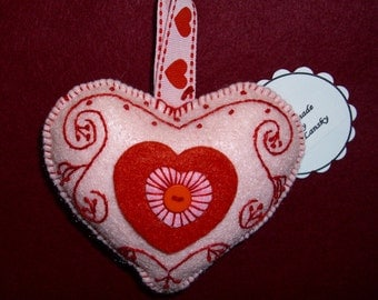 Felt Heart Ornament with Embroidery/Gift for Valentine's Day/Doorknob Pillow/Doorknob Hanger/Accent Point for Your Home Decor/