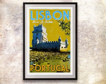 Portugal - Lisbon Retro Travel Poster