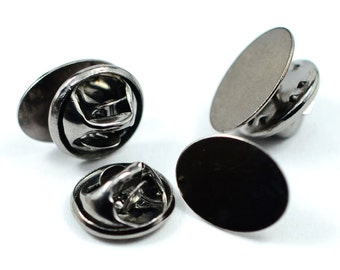 40 Pieces Gunmetal 10x14 mm Oval Tie Tack Pad Clutch Pin
