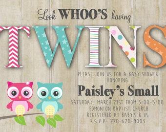 Twins Look Whoo is having a Baby Wood Owl Baby Shower Printable Invitation