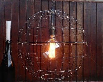 Large Atmo-sphere-ic pendant light, handmade rustic wire sphere hanging light, industrial lighting, custom chandelier, orb hanging light