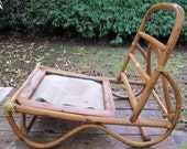 Vintage Bent Wood Cane Lounge Chair or Patio Chair Mid Century Modern Bentwood Bamboo