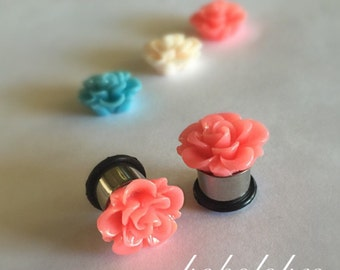 "Flower hider plugs PAIR of SINGLE FLARE plugs for gauged or stretched ears: Sizes 8g, 6g, 4g, 2g, 0g, 00g, 7/16"", 1/2"", 9/16"