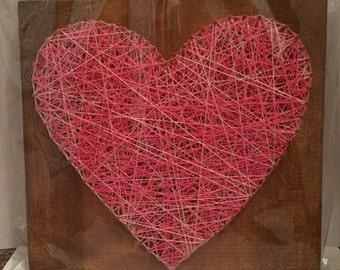 Heart nail string art