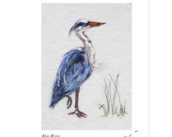 Blue Heron print,