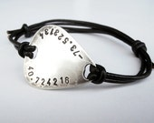 Custom Guitar Pick Bracelet German Silver, Leather Bangle Personalized Coordinates Text Message, Groomsmen Boyfriend Anniversary Father Gift