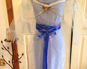 Upcycled, Recycled, Refashioned Blue Renaissance Celtic Fairy Dress COSPLAY