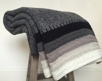 SALE, crocheted blanket, one of a kind, ombre in black, grey and white