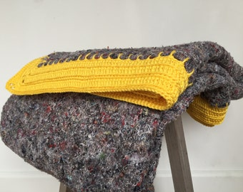SALE, yellow Hook blanket, huge handmade crocheted blanket