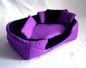 cosy cuddle cup / bed / lounge with waterproof blanket and 5 pillows for guinea pigs or hedgehogs (purple/black)
